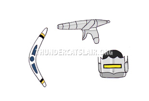 ThunderCats Encyclopedia - Mandora's Enzyme Cataliser, Boomslang, and helmet