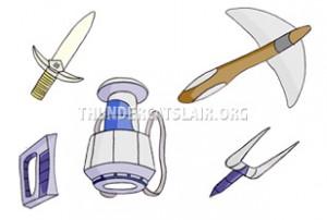 ThunderCats Encyclopedia - The Demolisher's Retractable Sword, Grounder, Gravity Carbine, Various Firing devices
