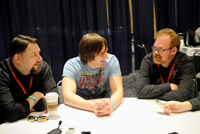 ThunderCats art director Dan Norton (left) and producers Michael Jelenic (center) and Ethan Spaulding (right) meet the media