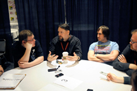 Art director Dan Norton (left) and producers Michael Jelenic (center) and Ethan Spaulding (right) talk ThunderCats in the press room