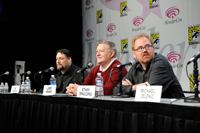 The ThunderCats panel, from left to right: art director Dan Norton; Larry Kenney (center), the voice of Claudus and the original Lion-O from the 1980s; and producer Ethan Spaulding (right)