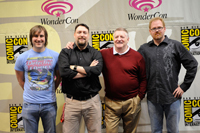 The ThunderCats team at WonderCon, from left to right: producer Michael Jelenic;  art director Dan Norton; Larry Kenney, the voice of Claudus in the new show and the original voice of Lion-O in the 1980s series; and producer Ethan Spaulding