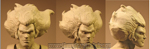 The initial clay sculpt of the head