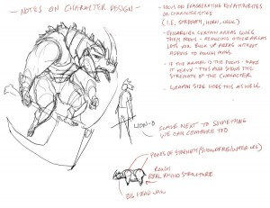 Character design notes. nomad55 was cool enough to make a ThunderCats character of his own. I'd just like to take a few minutes to show how I come up with character designs based off of the guy nomad55 did. Check his site to see what he did! This really just shows my process. What to look for, what techniques one could use. (Dan Norton giving notes to a fellow Deviant Artist based on his own character. Not used in the show).