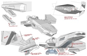 Feliner concepts 3. Here are a few of the exterior call outs for the Feliner in our new version of the ThunderCats. (Dan Norton Jun 2012)