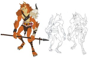Kaynar Concept art. So here is the concept art I did of Kaynar. I actually had to add the polearm in the last minute for presentation, so the hands aren't meant to be holding the weapon. You can see the original on the right. The danger of Kaynar design wise was that he looked to close to many other werewolf type characters if you look at his silhouette. So I added the horn on the shoulder to break him out of the box. This also represents his predatorial nature to hunt larger animals. (Dan Norton Mar 2012)