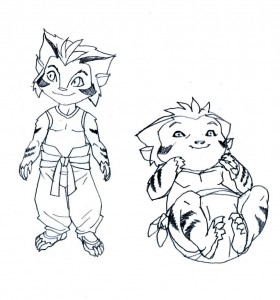 "Kid Tygra. These were the child versions of Tygra I did for ""Native Son"" in ThunderCats. We beefed up the eyes on the baby version for the final look. (Dan Norton Apr 2012)"