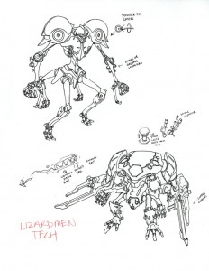 Lizardmech concept 2. Here are some more concept pieces for the lizardmen mechs. These we're just waaaaay to detailed to either build in 3-D or draw by hand... Oh well, fun drawing them anyways.
