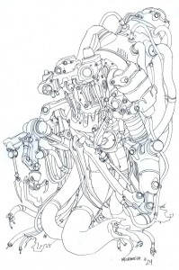 Necromech concepts 3. Here is the dreaded Necromega... This is what Tygra transformed into when his soul was trapped in the machine. (Dan Norton Jun 2012)