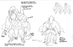Ratilla concept. The ancestor of Ratar-O! He was the Conan the Barbarian of Rat men. Brutal and Merciless. As you can see in the upper corner, he's much bigger and more muscular then Ratar-O. (Dan Norton May 2012)