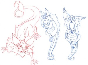 Snarf Roughs. These are some roughs I did for snarfs new look. We tried a bunch of things. Old, young, more cat like, more dragon like... Just some fun stuff.