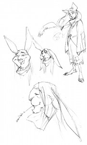 "The Drifter concepts 1. These were the first concepts for the Drifter. I chose a rabbit for the character not only for the commonality of the animal to relay an everyman approach. But it was a bit of a shout out to the WB's Bugs Bunny. As far as his ""Drifting"", I thought what would happen if you took away a man's hopes and dreams. With absolutely no will, the wind could blow you in any direction. It all went from there... By the way, he was almost a mouse. (Dan Norton Mar 2012)"