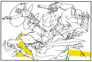 Promotional Art. This was the rough layout of the poster for the very first image released to the public for ThunderCats. (Dan Norton)