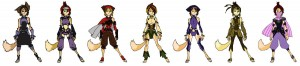 WilyKit costume alts. Like Cheetara's alternative outfits, I did the same with the kids. Here are Wilykits. I did use one of the alternative as inspiration for one of the thief kids name Jenyo in episode 22. Can you find it? [3rd from left]. (Dan Norton Jun 2012)