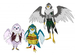 Bird men concepts. For episode 14 of ThunderCats I had to lay down some concepts for the bird nation. Here are some of those efforts. The taller one was the executioner who cut the rope Addicus was hanging from. Of course he was wearing a hood. (Dan Norton May 2012)