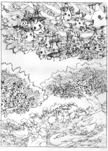 Bird Village concept 1. This was a concept piece for the Birdmen Village for show 14 which got trimmed down to a branch due to constrants. A lot of fun to draw. (Dan Norton Jun 2012)