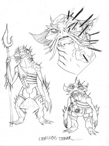 Captain Toonar. These were some of the original concepts for Captain Toonar. I had put a bunch of spines from the sand creature in his face which would not be removable like a bullet to close to the brain. I wanted him to be in constant pain. Disfigured by the creature. We just couldn't show this level of gore, not only because of the imagery but also the complication of art. We settled on the missing leg and scars. (Dan Norton Mar 2012)