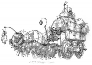 Caterpillar Cart concept. This was the very first cart I did as part of a brainstorm session in the early development of the ThunderCat series. I thought it would be interesting to have a cart pulled by a creature that was thought of as slow and flip the script on it. The idea of having it being lead by a leaf is what began to push the story forward. (Dan Norton May 2012)