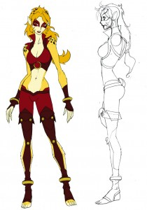 Cheetara concept 1. This was a blend of the more anime style with what would become Cheetara's final costume..