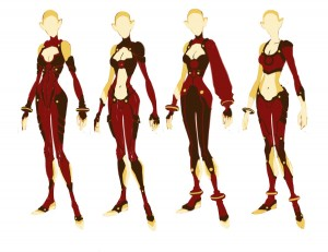 Cheetara concept 3. Here are a bunch of mock ups I did for Cheetara's costume. I was using color to break up the shapes on her form. Just a lot of experimentation. (Dan Norton May 2012)