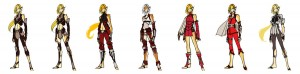 Cheetara concept 4. So, this was another grouping of Cheetara costumes I was messing with early on. We had been talking about a more Final Fantasy approach and I did some really heavy armored / layered looks. Since I did this purely digitally, I just grabbed colors to show contrast for the design. Had any of these taken off, it would have been adjusted properly. (Dan Norton Jun 2012)