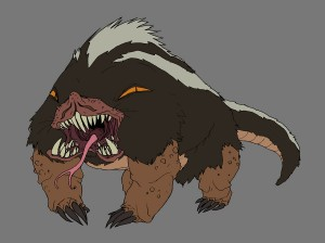 Comolbur. What do you get when you mix a Kimono dragon, a bear, a skunk, a mole and a well... hell if I know. A Comolbur. Yes, this big guy was the monster that was trying to hunt down the Chib-Chibs in episode 18 of ThunderCats. Somehow it was going to have a more traditional head until I thought about breaking form. Trying to think out of the box. I put the eyes above the shoulders and opened up the mouth. I think I was watching the Thing at the time too. Go figure. (Dan Norton May 2012)