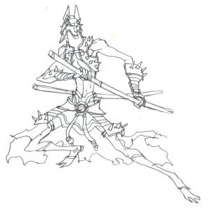 Dobo concept 1. Here is the very first concept of Dobo. Just a rough thumbnail. I was going for that Anubis like silhouette. (Dan Norton Jun 2012)