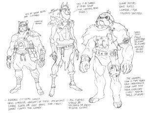 Dog Gladiators. These Dog men are gladiators of the Pit. What I was illustrating was how to assemble background characters with different materials. There is a mix of Tribal and machine parts going on in the outfits. (Dan Norton Apr 2012)