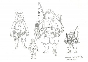 Dog people concepts 1. These were some of the Dog people concepts for background characters in Thunderia and Dog City. The one on the left got used as the first dog that gets roughed up in episode 1. (Dan Norton Jun 2012)