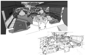 Feliner concepts 2. This is the interior of the Feliner. I didn't have the time to work out the details in 3-D, so I had to work within the interior space that I created from the exterior and make the space work in photoshop. This took about 2 or 3 days. I've included the rough version I did and the more polished one. (Dan Norton Jun 2012)