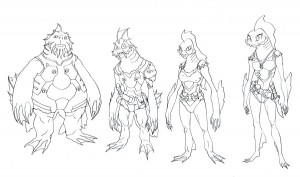 """Fishmen Crew concepts. Here are some of the crew of episode 3 of the new ThunderCats series. In """"Ramlak Rising"""" we saw these guys in the background of Toonar's ship. I have a first mate and chef I'll post later. (Dan Norton Apr 2012)"""