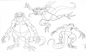 Lizard Tracker concept Sauro 1. This was going to be the body type for the third Lizard Tracker of episode 4. But as it went on, Takahiro Tanaka had a great design in the end and we went with his instead. This guy got a little bland. I'll post the final version with his costume later. (Dan Norton Mar 2012)