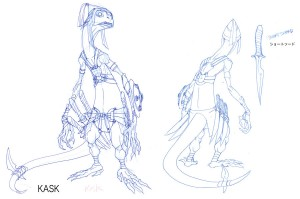 Lizard Tracker Kask concept 1. For episode 4, I had a trio of lizard trackers to design. This is one of them. Kask's design was essentially the same as Lizard Slave 1. I just drew on top of him to save time and economize the design bandwidth for the animators. He was going to have 6 short swords, but again, had to think of the line mileage. (Dan Norton Mar 2012)