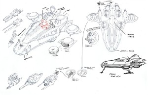 Lizard Transport concept. In episode 14 we revealed the new Lizard cruiser. The idea behind the concept was to use an alligator head for the structure to keep in the theme of the design. You'll see an array of attachable weapons for the wings and front gunner. (Dan Norton Mar 2012)
