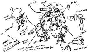 Lizardmech concept 1. This is a concept for the Lizard Mechs for ThunderCats that I did. I had an incredible Mech designer on the show named Karl Oustland as well. He really tore it up.