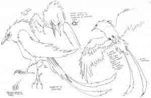 Mumm-Ra as a Bird. Here is Mumm-Ra in his bird form. I gave him the long tail feathers to break him away from a standard Raven. But it was in the OS show. (Dan Norton Mar 2012)