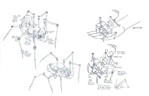 Necromech concepts 1. These little guys were the rough concepts of the first necromechs for episode 24 of the ThunderCats. The one on the left was never used. The other was the first one on screen. (Dan Norton Jun 2012)