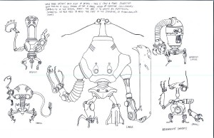 Necromech concepts 2. More concepts for Necromechs... The originators were Necromechers. The offspring were called necromechs. The junkyard creations were the work of Soul Sever trying to make machines that could hold an organic soul. Though they ended up being merely robots powered by his own hand. (Dan Norton Jun 2012)