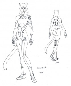 Panthera concept 1. Here was my go for Leo's girlfriend and fellow mutinous, Panthera. Since we didn't see all the team back in the real world this episode, we worked in counterparts to some of the main cast. One thing I was insistent on was making Panthera much taller than Leo. I wanted to show he wasn't intimidated by a strong woman and brake convention on another male domination fantasy. No damsel in distress here.. (Dan Norton Mar 2012)