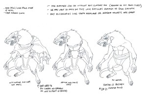 Rat men concepts 2. This was used to show how to make multiple Rat men with different variations to the clothing. (Dan Norton May 2012)