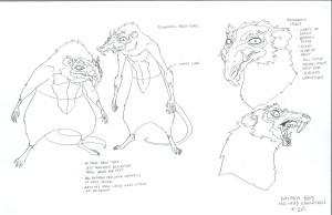 Rat men concepts. These were some of the basic rat men concepts. I was trying to show how they stood and differences in the stature. I also wanted to show where their waist line was and facial gestures. (Dan Norton May 2012)