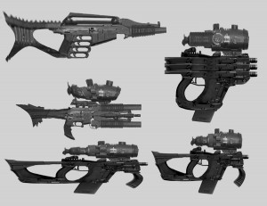 Sci Fi guns. Hey guys, I thought I'd show you how I sometimes take a pass at creating new weapons to draw. Here I've taken a photo of several real guns. I simply chop them up into pieces, copy and paste, stretch and distort until I find a good composition. Then I draw it off to the side. It always helps to find something believable and familiar to base you idea on. It will really lend credibility to the functionality of the concept. These in particular were used to give my team some ideas for the weaponry of the lizard men for ThunderCats. (Dan Norton Mar 2012)
