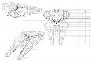 """Storm Charger. This is Mumm-Ra's vehicle called the """"Storm Charger"""". But unofficially, we called it the Mumm-Ride as a joke. Somehow we all grew to like the name and used it internally during production. In this process, I used these drawings to be my template to build it in Sketchup. I did some quick distortion views to see how it stretched. The lines on the side became a loose orthographic for height."""
