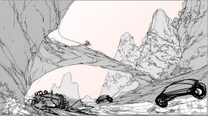 The race. Here is a rough of the race scene in Episode 10 of ThunderCats. This was to illustrate the kinda feel of the bikes and Thunder Tank passing through the canyons. Just a quickie!