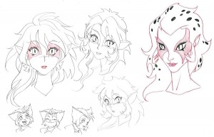 ThunderCats Concept art 4. Early on for the series development, we tried a variety of looks. These are a few examples of the manga versions and a more illustrative take. You'll also notice the very young child faces of Kat at the bottom. We we're exploring an age of 5 to 6 years old. (Dan Norton Mar 2012)