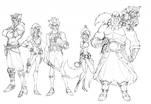 ThunderCats Concept art 5. Here is the very first rough group shot of the ThunderCats new series. I had done some individual roughs and wanted to show the contrast of their scale for presentation. You'll notice that Panthro's outfit is drastically different, WilyKit is a much older teenager and Tygra's gear is different too. (Dan Norton Mar 2012)