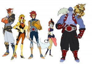 ThunderCats Concept art 6. Here is a modified group shot based on the first pass. I've added color to this one, changed Panthro's outfit and shrank WilyKit. I'm posting all this art by the way to get the word out on the show. We really need word of mouth advertising since we're not seeing much anywhere else. May 24th 9:30am! That's a Saturday, so break out your cereal boxes and blankets and park it in front of the Mother Box. (Dan Norton Mar 2012)