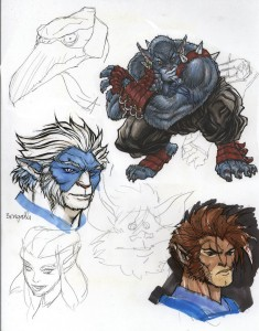 ThunderCats concept for issue 0. These drawings were from my old pitch from 2000. I actually did them in the end of 99 or so. I was trying to experiment with markers and jelly pens. I noticed a few folks asking about Bengalli, hope this makes some happy. (Dan Norton Apr 2012)
