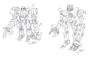 ThunderCats necromechs. Here are Panthro and Tygra's concepts as necromechs. We didn't have the time or ability to get in both characters as mechs, so we only got to see Tygra. So here is a peek at Panthro's. (Dan Norton Jun 2012)