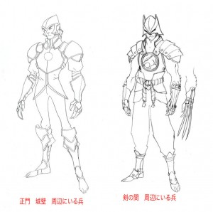 Thunderian Guard. Here are some of the soldier concepts for the Thunderian Guard. The one to the right was going to be the special forces of the group, we just had too many characters that one point and had to scale back. (Dan Norton Apr 2012)